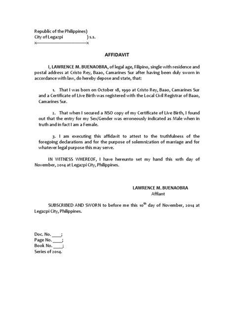 certification letter for name discrepancy affidavit discrepancy in gender