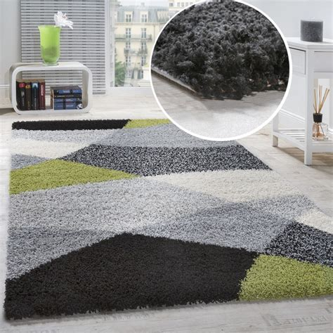 Teppiche Weich by Shaggy Carpet High Pile Pile Patterned In Grey Black