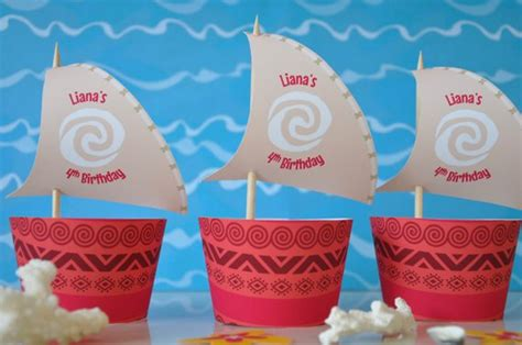 moana boat sail printable free moana cupcake topper sails and wrappers for birthday party