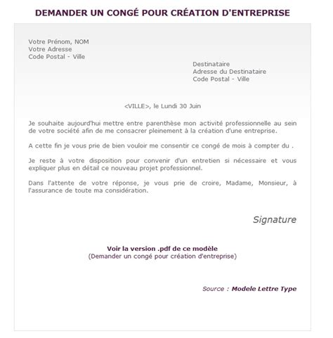 Modèle Courrier Congé Paternité