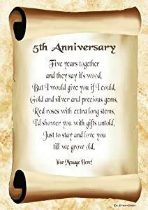5th Anniversary Personalised Poem Gift Print: Amazon.co.uk
