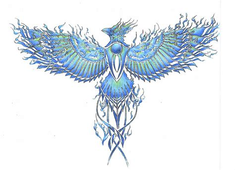 phoenix tattoo blueflame by mnementh2000 on deviantart