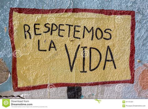 biography written in spanish colored graffiti on a wall stock photo image 61141261