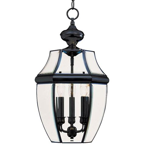 Homedepot Outdoor Lighting Maxim Lighting South Park 3 Light Black Outdoor Hanging Lantern 6095clbk The Home Depot