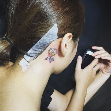 small dreamcatcher tattoo behind ear dreamcatcher ear tattoos on
