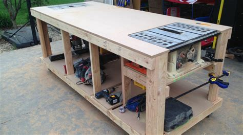 workshop table layout building your own wooden workbench make