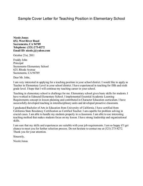 Resume Cover Letters For Teachers by Elementary Resume Cover Letter Exles Resume