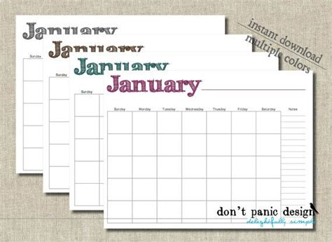 printable monthly calendar no dates hand drawn font printable monthly calendar no date 12
