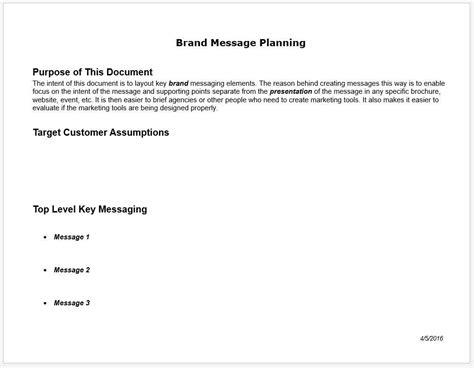 Brand Messaging Planning Worksheet And Template Clickstarters Brand Message Template