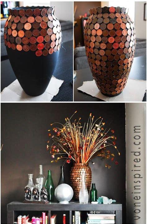 diy ideen hauptdekor vase dekoriert mit m 252 nzen deko m 252 nzen