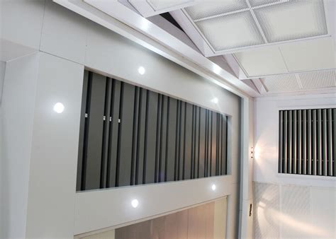 metal open frame linear metal ceiling install with steel