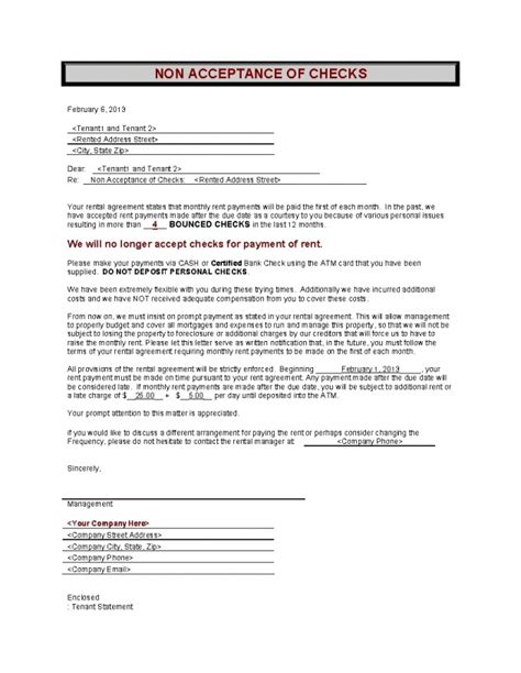 Rent Check Bounced Letter D26 Non Acceptantance Of Personal Checks Onedollarlandlordforms Rental Lease Agreement