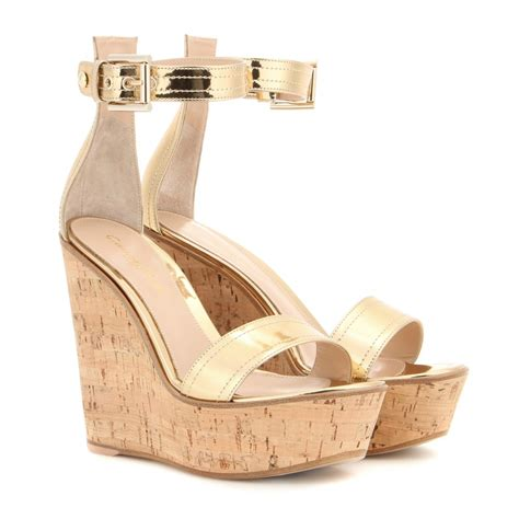 Wedges Gold gianvito metallic leather wedges in gold lyst