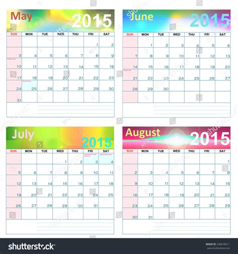Calendar For Year 2015 United States Calendar For Year 2015 May August United States Holidays
