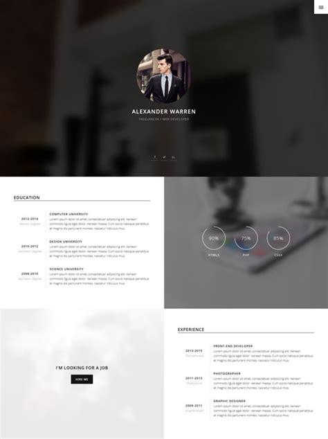 vcard templates 50 best html resume cv vcard templates 2017 freshdesignweb