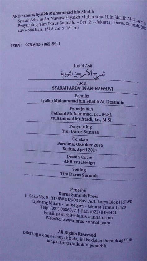 Syarah Arbain An Nawawi Arbain Nawawi Darus Sunnah buku syarah arbain an nawawi penjelasan hadits pokok