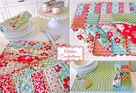 Fabric Place Mats by Kitchen Confections In Moda S Vintage Modern Patchwork