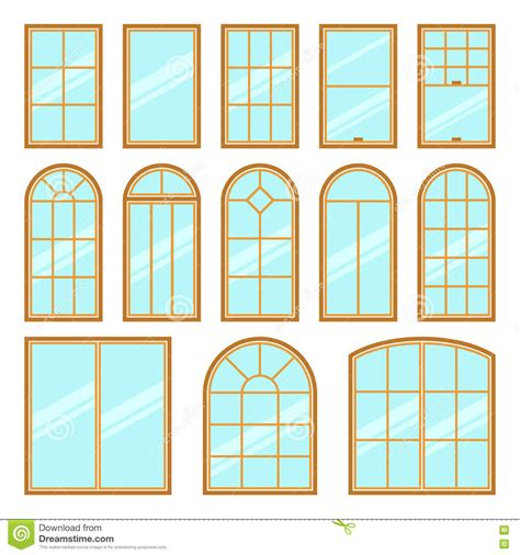 Different Windows Designs Vector Icons Set Of Different Types Of Windows Stock Vector Illustration Of Architecture