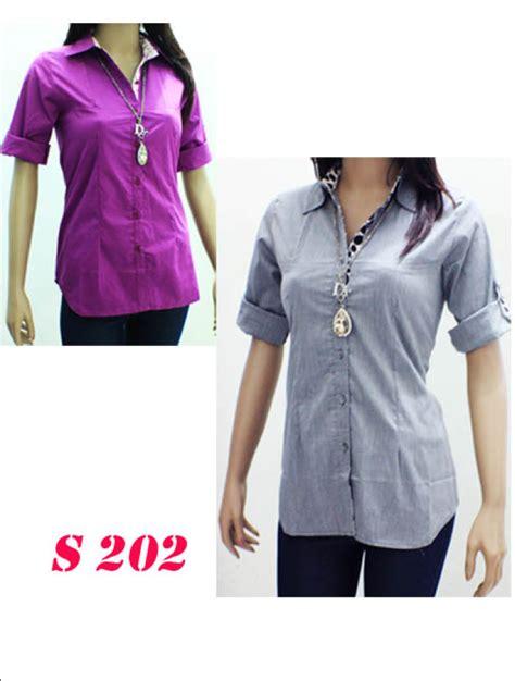 Kemeja Brukat B155 Kemeja Tangan Panjang Wanita Kemeja Polos Kece baju fashion wanita harga grosir