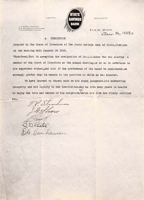 Acceptance Letter Of Resignation Of Director Lamott George Bates