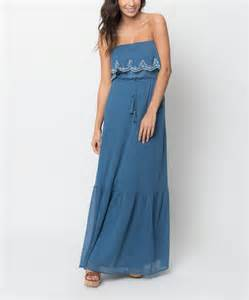 caralase denim blue embroidered strapless maxi dress zulily
