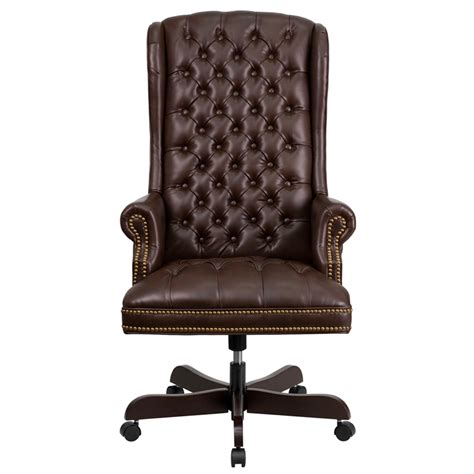 Tufted Leather Office Chair high back traditional tufted brown leather executive