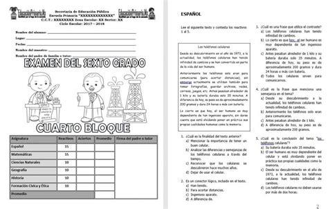 examen del cuarto grado del tercer bloque del ciclo examen del sexto grado del cuarto bloque del ciclo escolar
