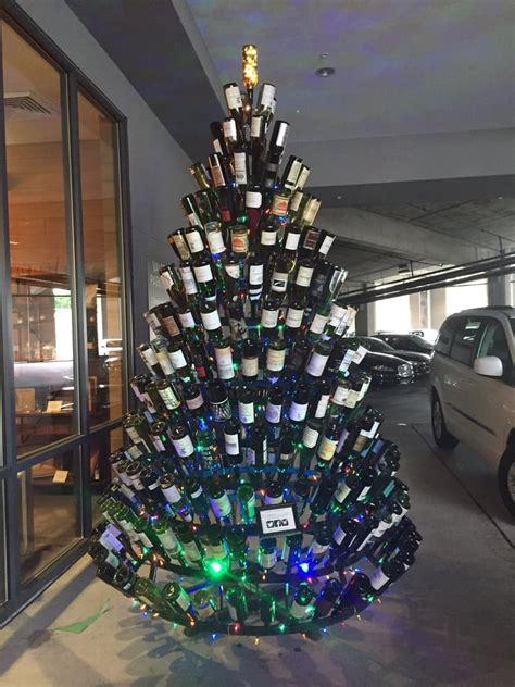 christmas tree made from wine bottles view of wine bottle tree in daylight yelp