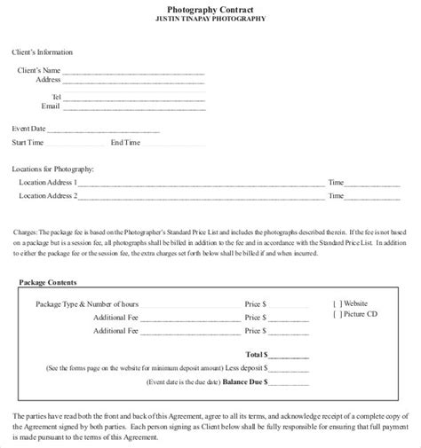 photographer agreement template photography contract template 18 free word pdf