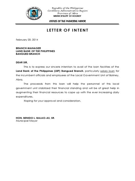 Finance Letter Of Intent letter of intent availment of salary loan docx