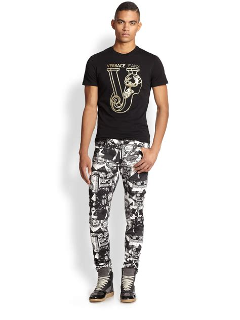 versace patterned jeans lyst versace jeans printed palazzo jeans in black for men