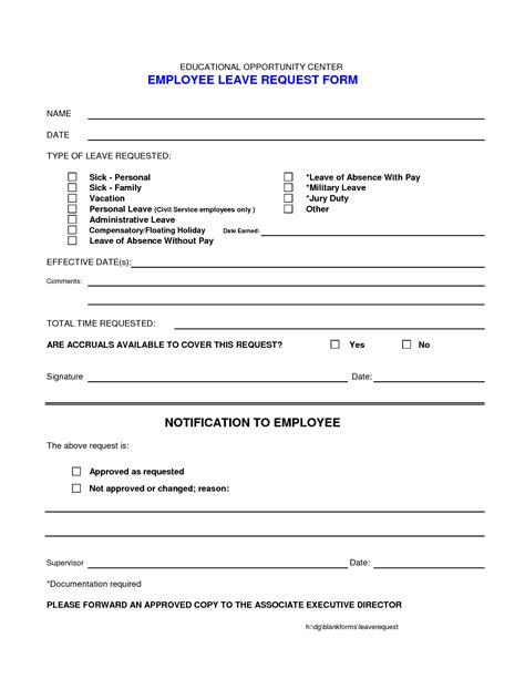 doc 12751650 doc8501099 request for leave form template