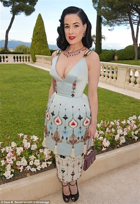 Costume Chandelier Earrings Dita Von Squeeze Teese Showcases Her Cleavage At Cannes