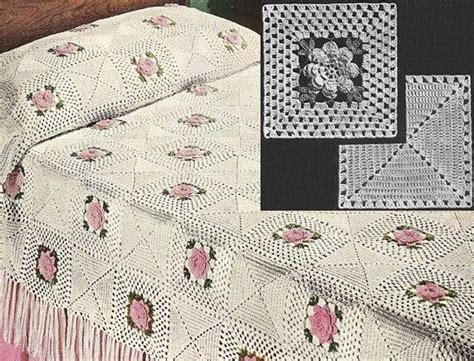instant   rose bower bedspread vintage crochet