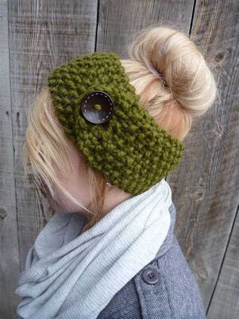 knitting pattern headband ear warmer the jordyn headband ear warmer in charcoal with button