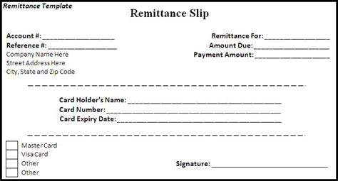 remittance slip template remittance template word excel formats