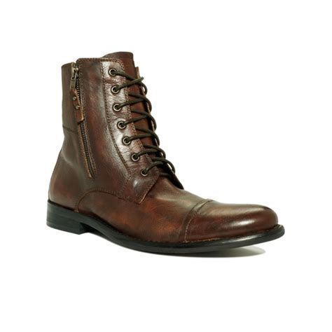 kenneth cole reaction hit boot kenneth cole reaction hit cap toe lace boots in brown