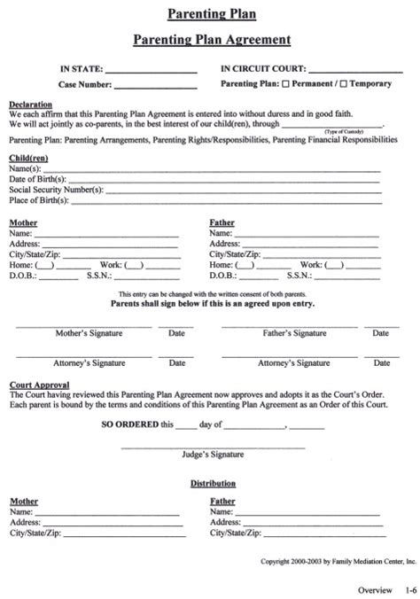 co parenting agreement template parenting plan template shared parenting plan template
