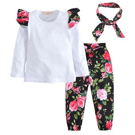 Set Hoddie Headband Handband 3pcs set newborn infant baby clothes sleeve t shirt floral headband set