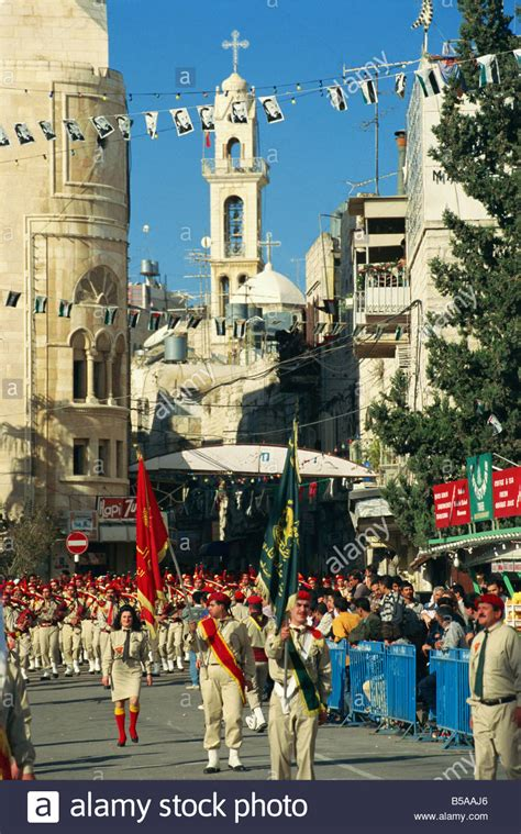 trips to bethlehem in the middle east for xmas scout bands marching day bethlehem israel middle east stock photo royalty free