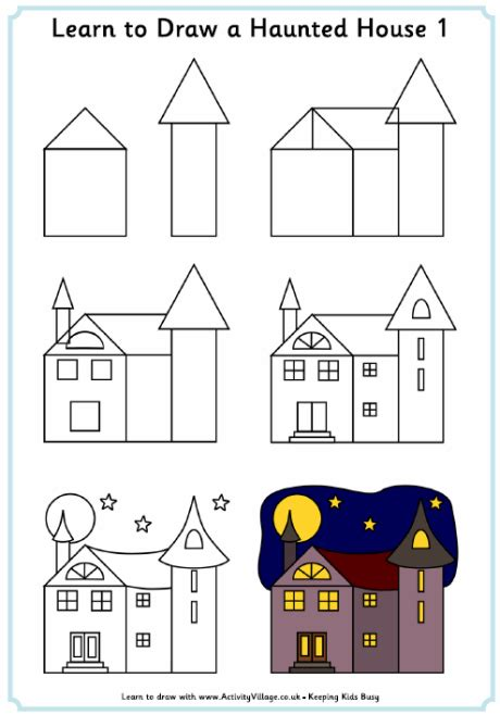 how to draw a house step by step buildings landmarks places learn to draw a haunted house 1