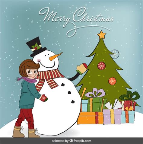 commercial woman hits snowman christmas card with a girl and snowman vector free download