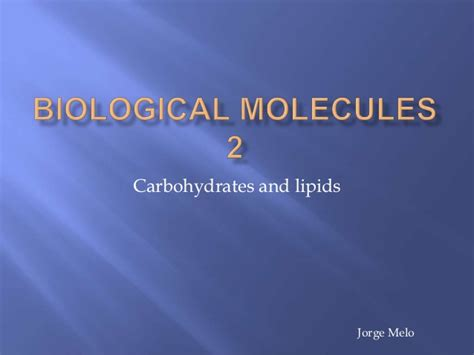 Mba 2 Biological Molecules by Biological Molecules Carbohydrates And Lipids Water And