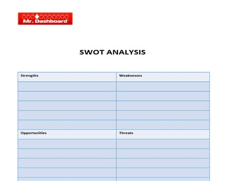 swot analysis template pdf swot analysis template exles and definition mr dashboard