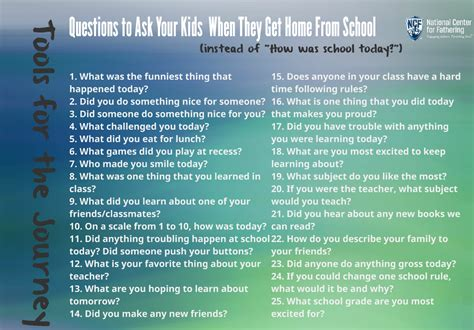 after school questions to ask national center for fathering