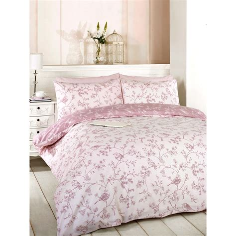Toile Bedding Set Toile Duvet Quilt Cover Reversible Floral Bird Bed Set Pillow
