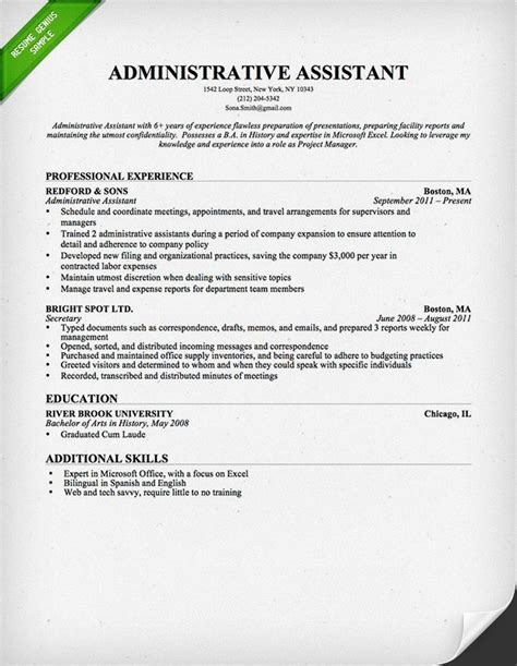 administrative assistant resume summary writing resume