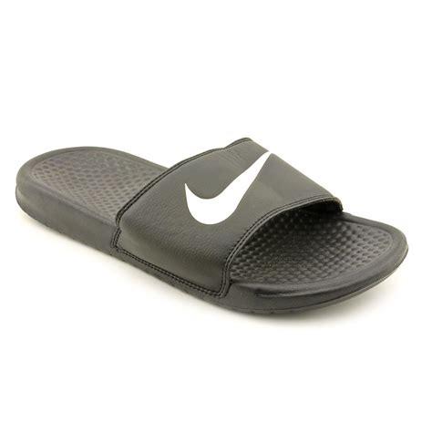 black nike sandals for nike benassi swoosh mens size 9 black open toe slides