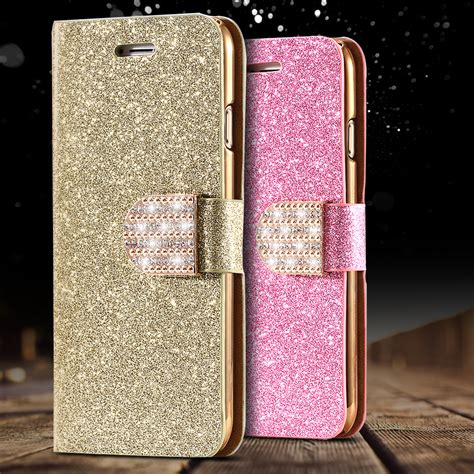 Sparkling Iphone5 5s 5g Se moq 1pcs luxury glitter bling leather for iphone 5 5s se 5g stand