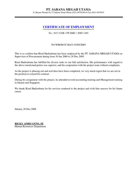letter of certification of employment template 9 best images of certificate format for employment